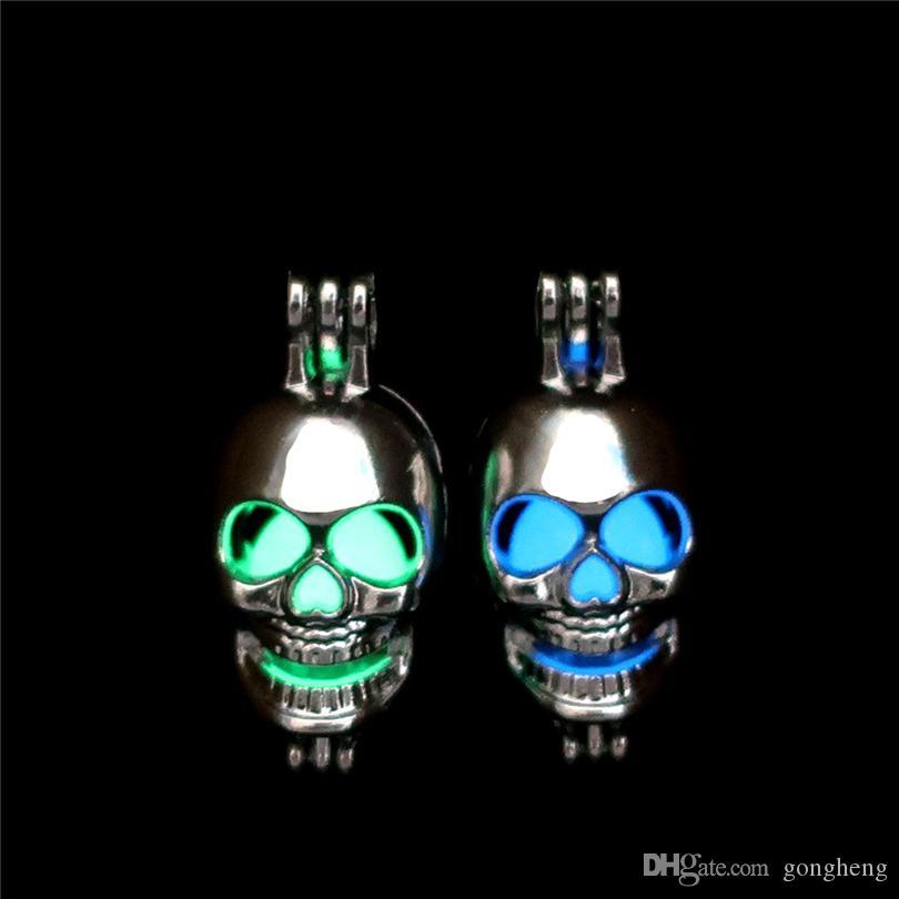 Bagliore d'argento nel buio Perline Ostriche di cranio Ostriche di gabbia Ciondolo con ciondolo Profumo di aromaterapia Diffusore di oli essenziali