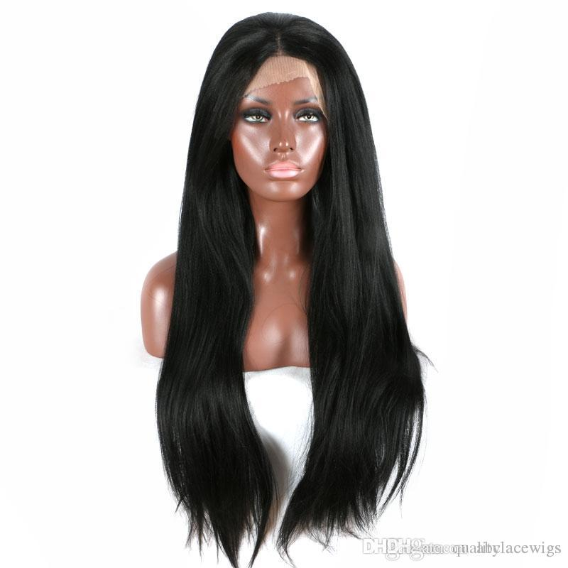 Top 180% Black Brown Long Yaki Straight Synthetic Lace Front Wigs with Baby Hair Glueless Heat Resistant Fiber Middle Parting For Women Wigs