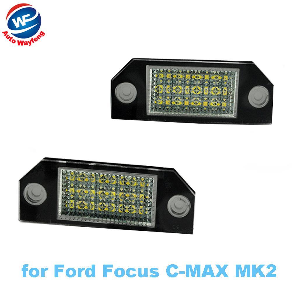 2Pcs 12V White 24 Car LED Number License Plate Light Lamp for Ford Focus C-MAX MK2
