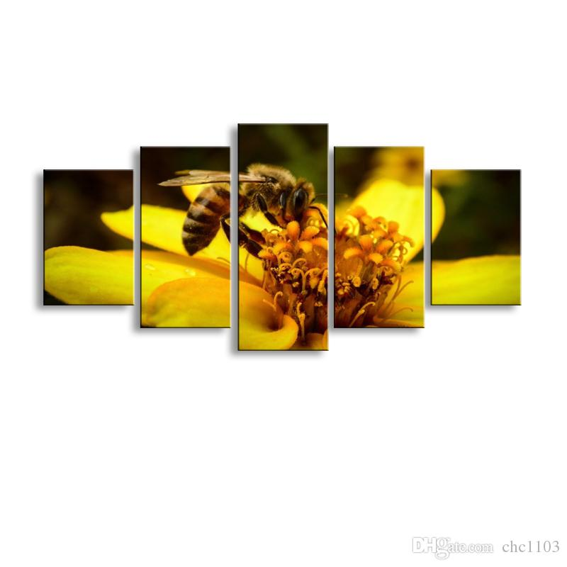 5 pieces high-definition print Bees flowers canvas oil painting poster and wall art living room picture PF5-007