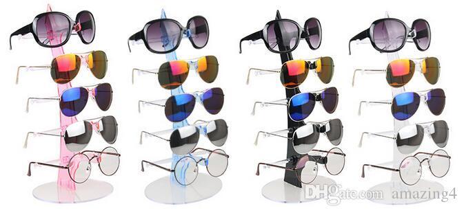 2pcs / lot Niza 5 capas del portalentes Lentes estante de exhibición de Contador soporte demostración de la joyería de envase de presentación de las lentes de almacenamiento