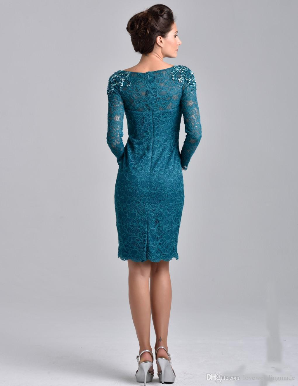 2018 Knee Length Teal Blue Lace Mother Dresses With 3/4 Long Sleeve ...