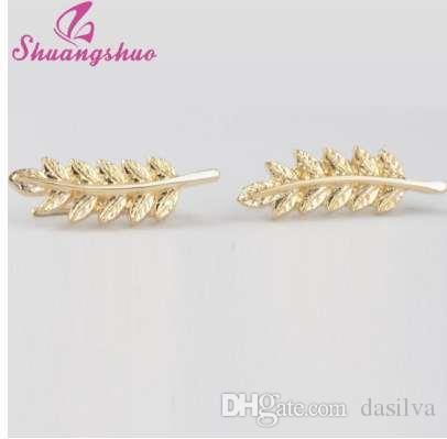 Shuangshuo New Vintage Jewelry Exquisite Feather orecchini per le donne Bella albero semplice lasciare orecchini clip orecchio brincos