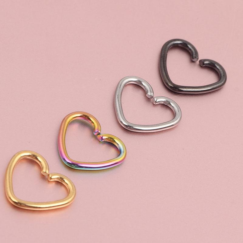 2020 Mix Stainless Steel Heart Shape Septum Piercing Nose Hoop