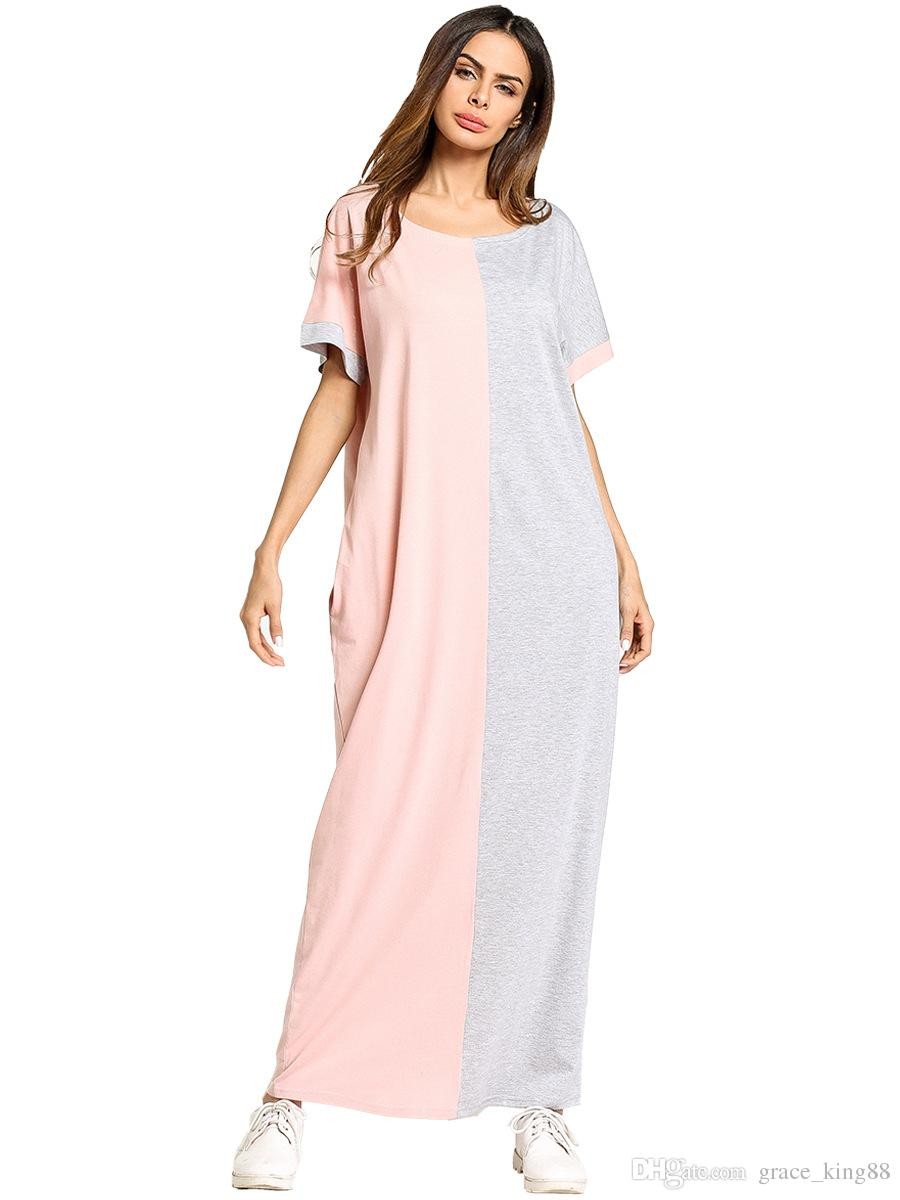 Spring New Arrived Women\'S Plus Size Dress Short Sleeve Colors Stitching  Cotton Casual Loose Dress Long Maxi Dress Cheap Dresses Dresses For Women  ...