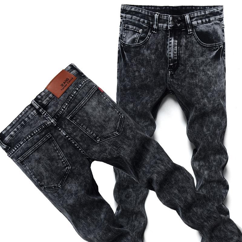 WDJUGZ Noir Maigre Jeans Hommes Hiver Automne Stretch Denim Jeans Homme Élastique Casual Slim Jean Pantalon Mâle Qualité Homme