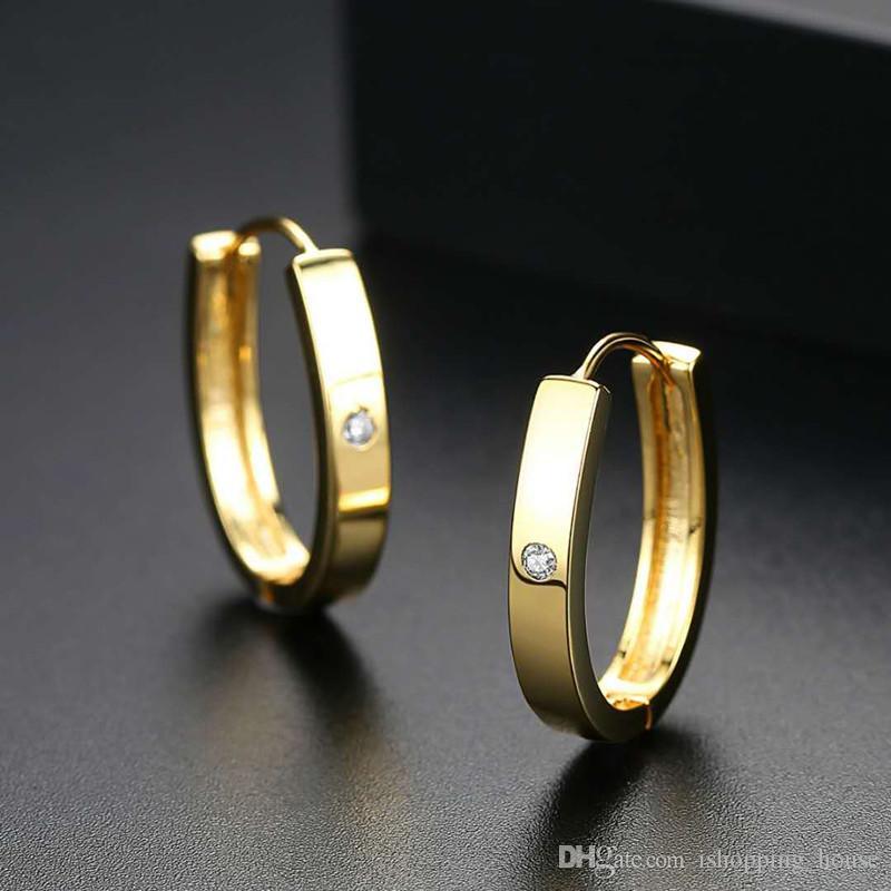 Nowy Prosty Moda 18K Żółty Złoto Biały Pozłacane CZ Kolczyki Dla Dziewczyn Kobiety Ładny prezent