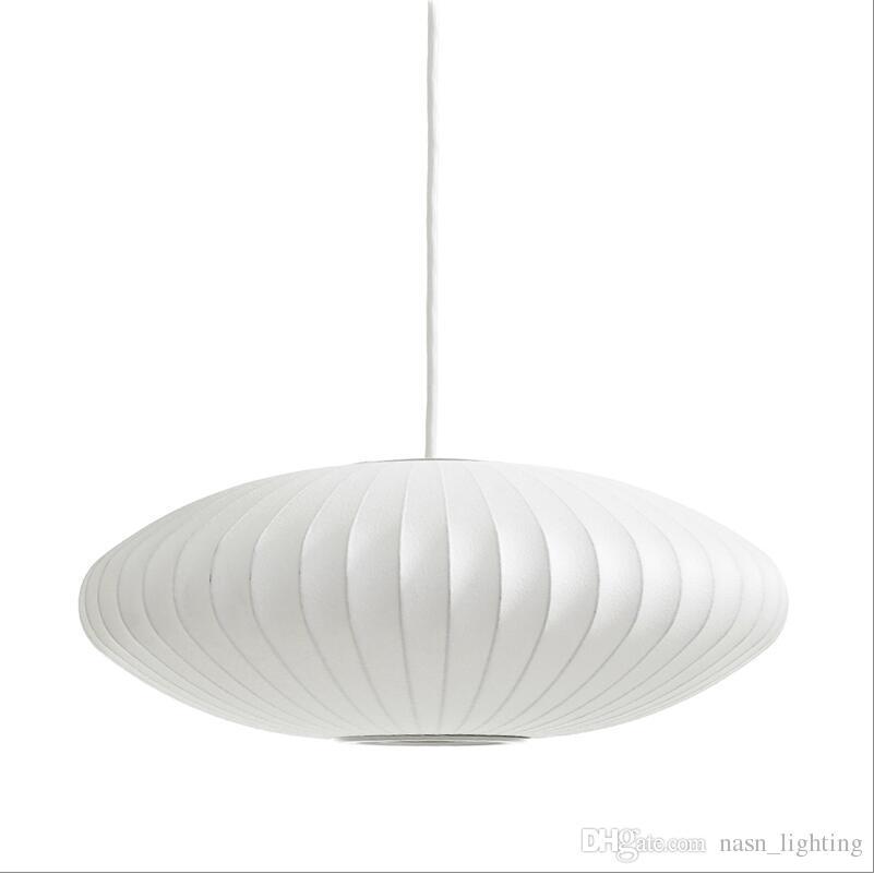 George Nelson Bubble Saucer Lamp E27 LED Pendentif Soie Blanche Lumière Blanc Soie Boule Plate Pendentif Lampe Lampe Blanc Soie suspendu Éclairage