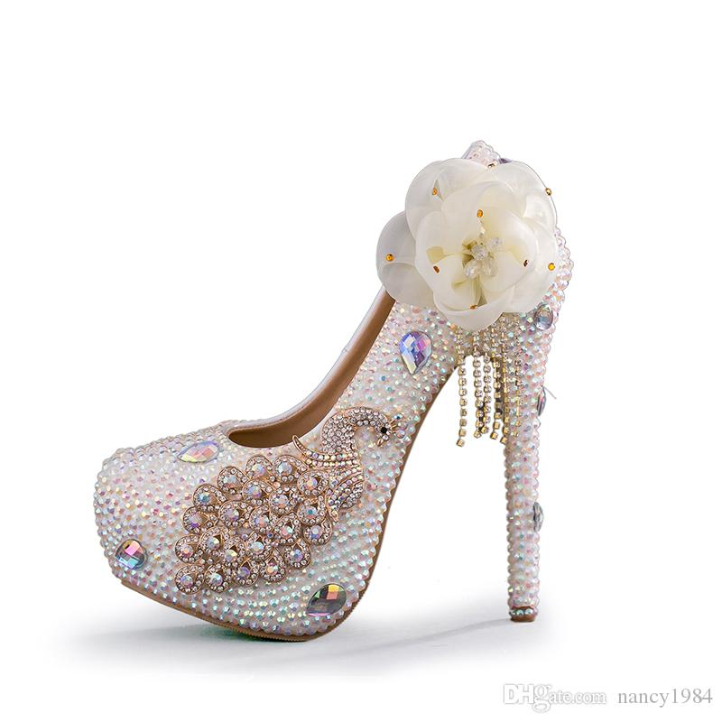 Luxurious Wedding Dress Shoes Crystal AB Color High Heel Shoes Glitter Phoenix Bride Wedding Party Pumps Cinderella Prom Shoes