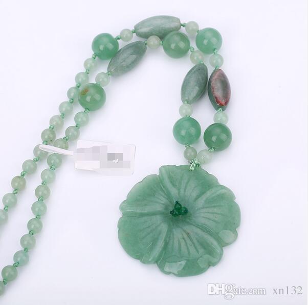 Pendentif Collier Femmes Charme Jade Faits À La Main Sculpté Bijoux Mode Cristal Perles Chaîne Cadeaux Collane Donna