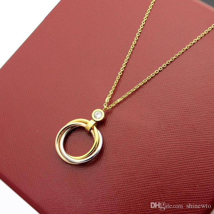Neu kommen mode dame titanium stahl 18 karat überzogene gold halskette mit einzelnen diamanten drei farbe kreise anhänger 2 farbe