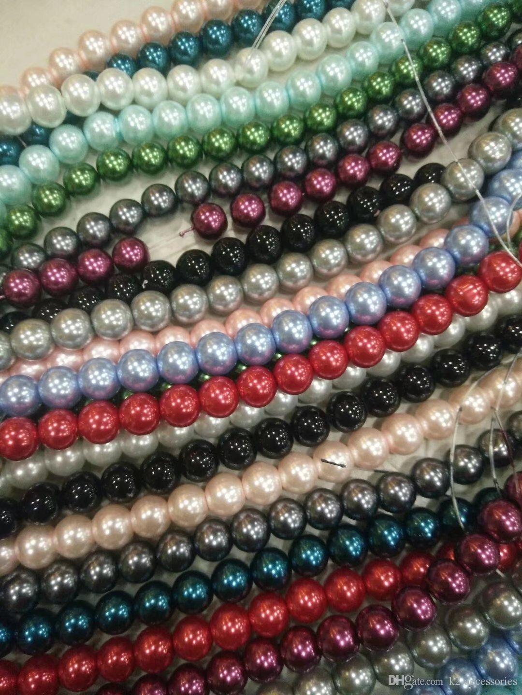Самый дешевый! 20 пряди 1500 шт. стекло жемчуг 6 мм гладкие круглые бусины смешанные цвета DIY ювелирных изделий