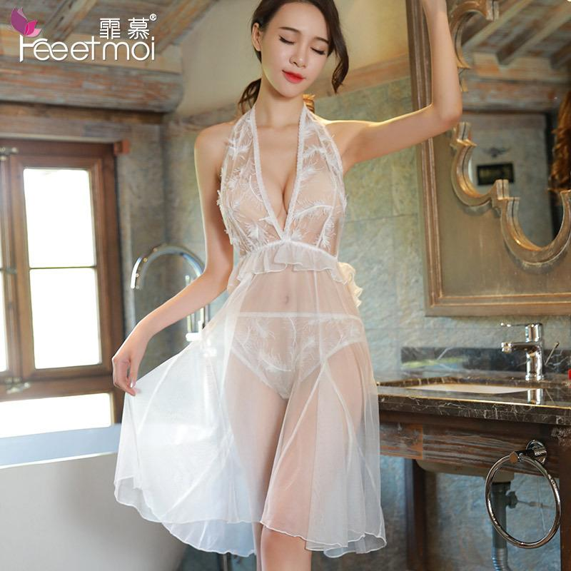 f334156dadf85 Long White Mesh Sexy Nightgown See Through Lace Halter Deep V Neck Backless  Night Wear Women Sleep Dress Sleepwear Sexy Lingerie S1011 Ladies Pjs ...