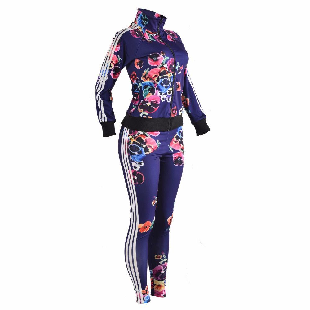 Conjunto de dos piezas de las mujeres Chándales Otoño Crop Top y pantalones con cremallera Casual Sweatsuit Impresión de manga larga Spring Outfits Conjunto femenino