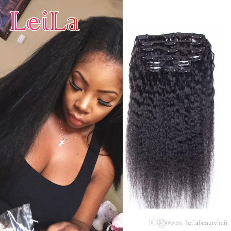 Peruvian Human Hair 7Pieces SET Kinky Straight Clip In Human Hair Extensions Natural Black Coarse Yaki Human Hair Weaves