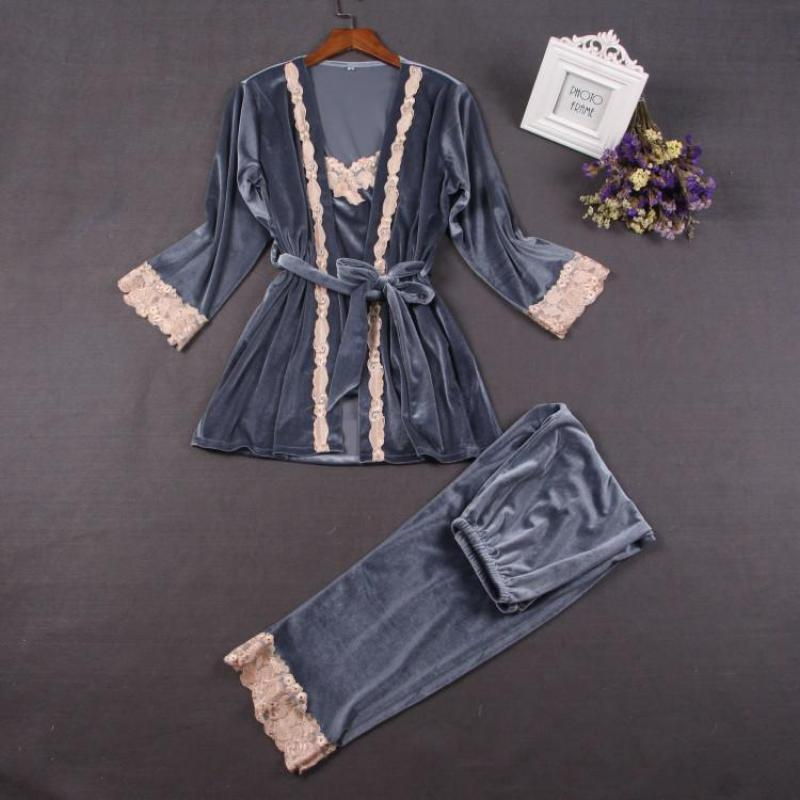 Autunno Inverno Donna Velluto caldo 3 pezzi Sleepwear Cinturino sexy TopPantsRobe Home Wear Tempo libero Abbigliamento da notte Pigiama Pijama Set