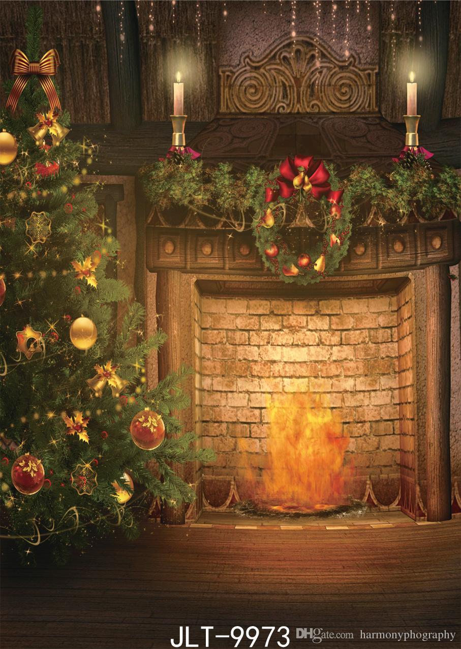 Boże Narodzenie backdrop choinki kominek nocny fotografia backdrops tkaniny winylowe tła do photo studio photoshoot dostosuj