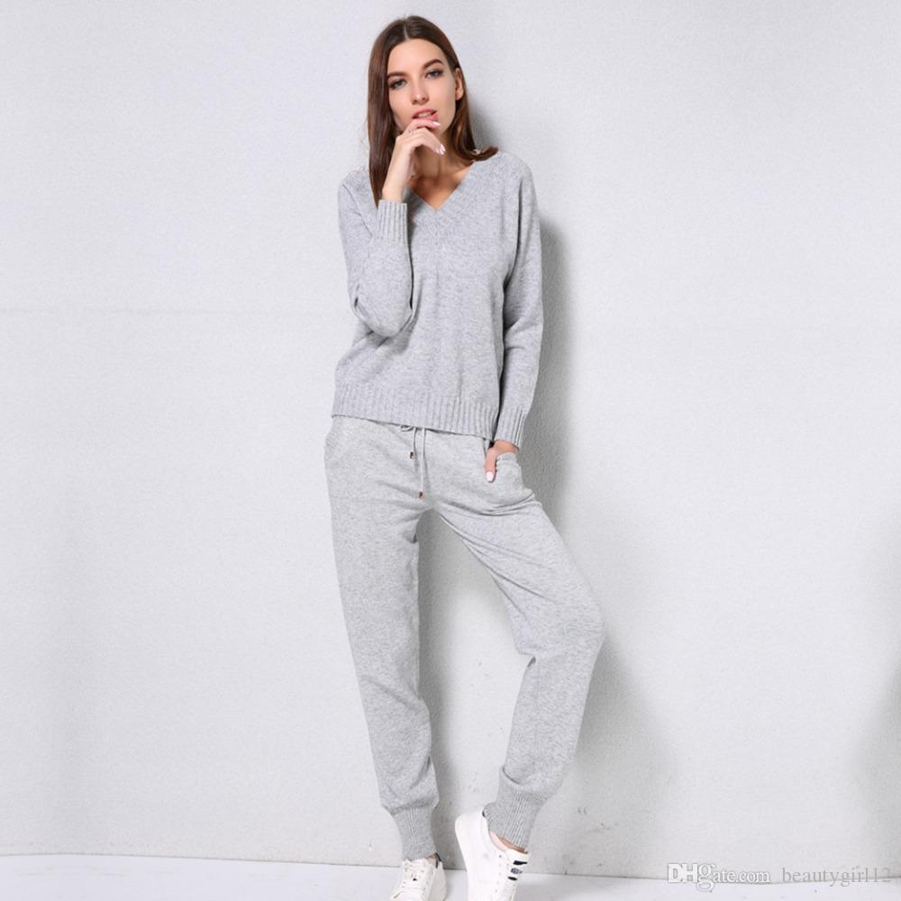 Women sweater suit and sets Casual Knitted Sweaters Pants 2PCS Track Suits Woman Casual Knitted Trousers+Jumper Tops Clothing Set