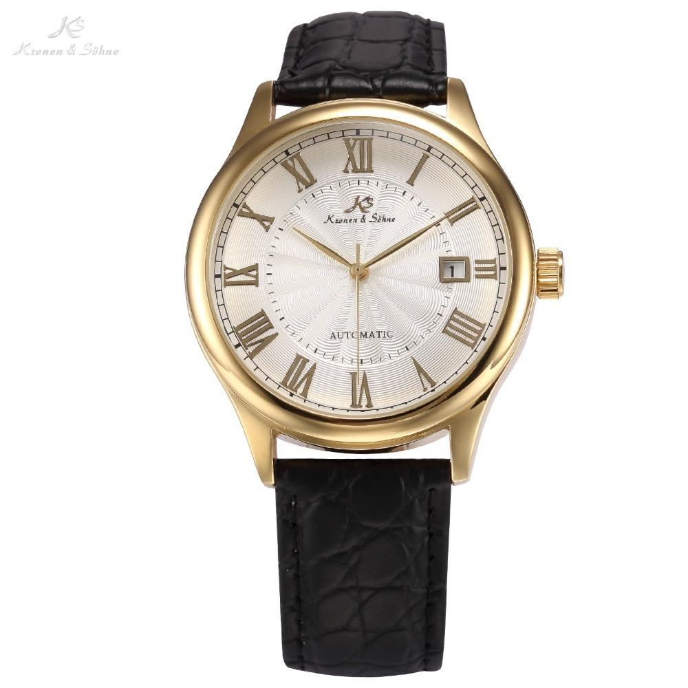 IMPERIAL KS Auto Date Display Roman Numerals Stainless Steel Gold Case Leather Strap Self Wind Clock Men Mechanical Watch /KS241 C18111601