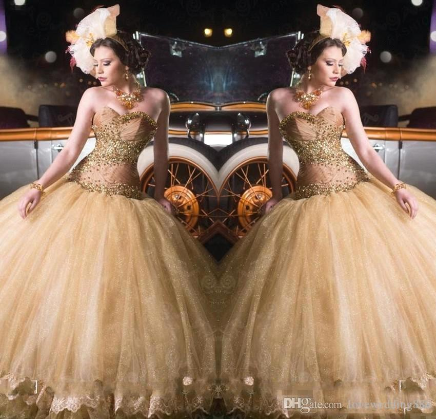 2018 Newest Shiny Gold Sweet 16 Ball Gown Quinceanera Dresses Sweetheart Beads Sequins See Through Prom Party Gowns Queen Style