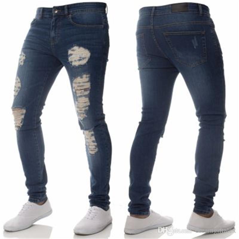 2018 Erkek Kot Moda Ince Delik Yıkanmış Denim Mavi Pantolon Erkek Rahat Erkek Elaticity Sıska Streetwear için Delik Pantolon
