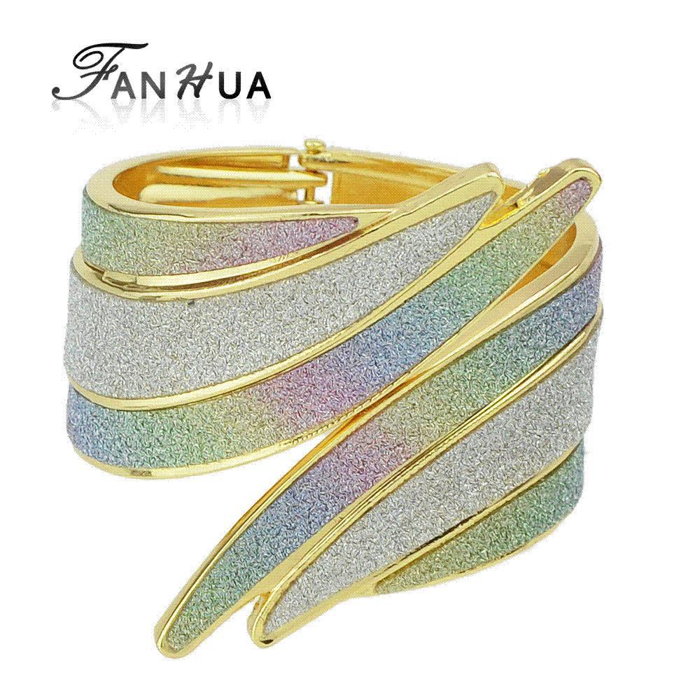 FANHUA Colorful Irregular Arm Cuff Bracelets Hippie Punk Rock Big Bangles For Women Fashion Jewelry New Designer Bijoux