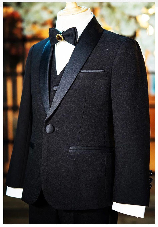 Boy siyah tek düğme şal yaka takım elbise erkek resmi elbise düğün çiçek kız elbise çocuk takım elbise elbise üç parçalı takım (ceket + pantolon +
