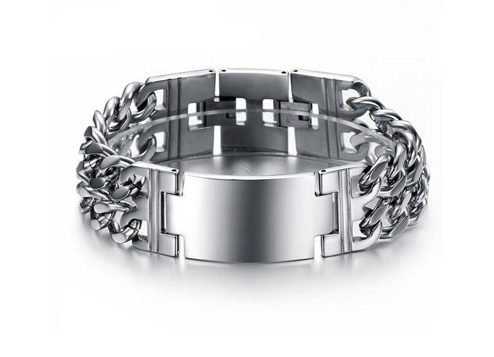 Braccialetto in acciaio inossidabile di modo degli uomini semplici di colore di alta qualità Braccialetto lucido dei monili del braccialetto dell'orologio dell'acciaio inossidabile per gli uomini Boys 620
