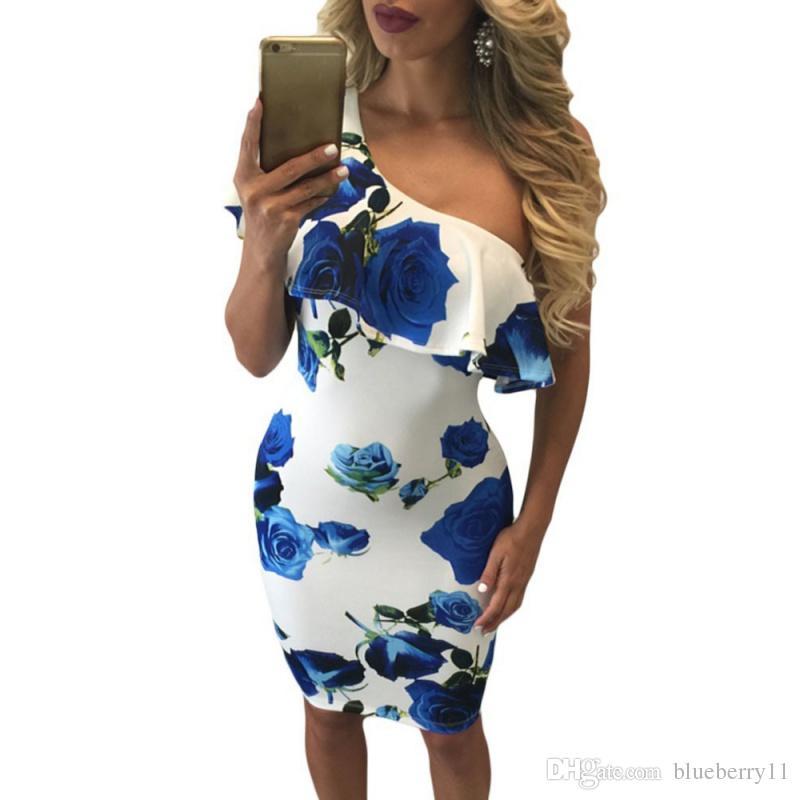 Sommer Frauen Sexy One Shoulder Kleider Drucken Sommer Vintage Frauen Party Kleidung Blue Rose Rüschen Midi Kleid Vestido