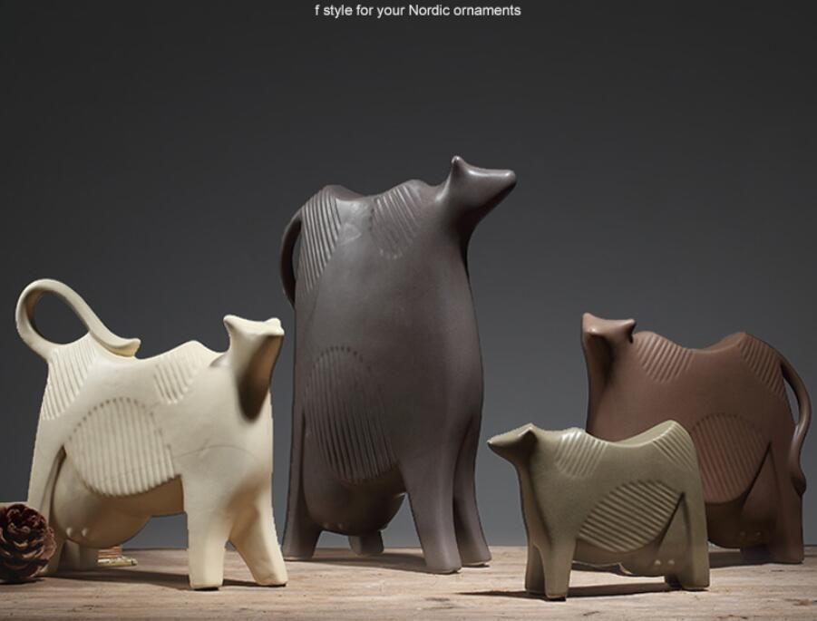 vache laitière Céramique créative lait vache décor à la maison artisanat chambre décoration artisanat Bétail porcelaine figurines d'animaux décorations