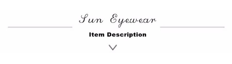 sun eyewear item description