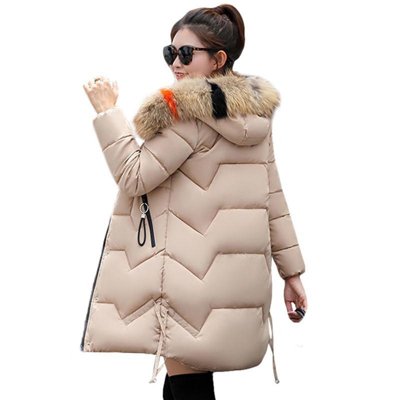 Fashion Hooded Big Fur Coat 2018 New Winter Jacket Women Warm Cotton Padded Jacket Coat Female Thick Long Down Parkas Outwear S18101505