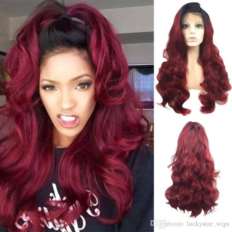 New Sexy 2 Tones Burgundy Wine Red Wig Black Root Long Wavy Synthetic Lace Front Wigs Glueless Heat Resistant Ombre Wigs for Women