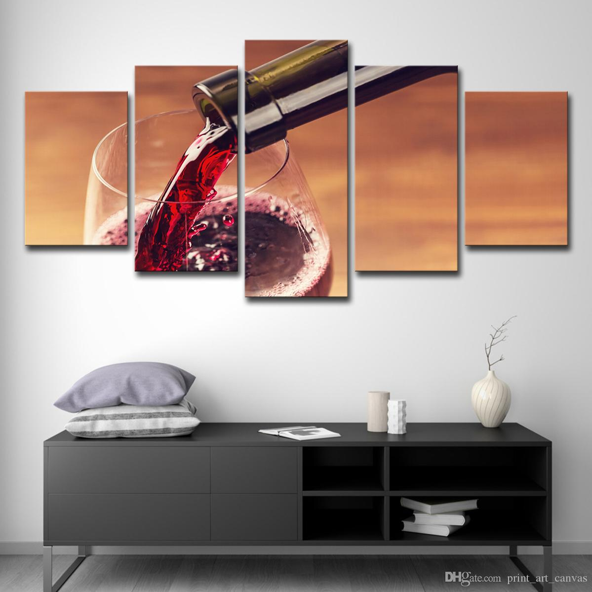 Canvas Painting Home Decor For Living Room HD Prints 5 Pieces Red Wine Glass Pictures Drink Poster Restaurant Wall Art