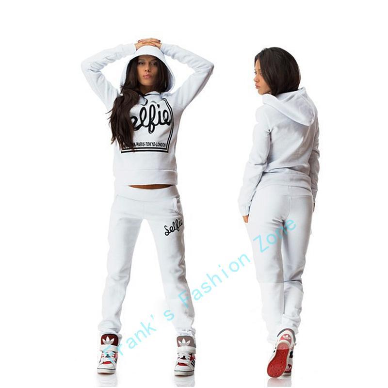 Donna Tuta Abbigliamento Felpe Set stampa della lettera di Sportwear Suit Women 2 da fermo Costumi Felpa + Pants Sudaderas Drop Shipping