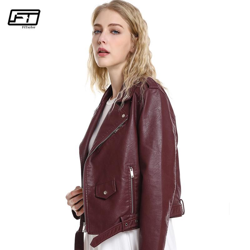 Fitaylor الجديد 2018 الخريف المرأة سترة جلدية PU الأسود الأحمر الوردي للدراجات النارية الأساسية جاكيتات جلدية فو معطف زيبر حزام أبلى