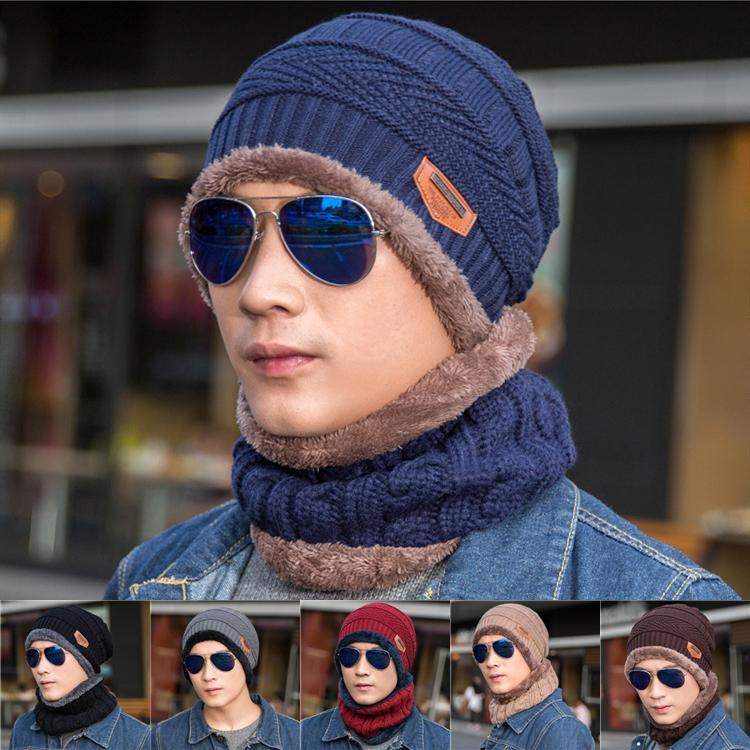 Nova Moda Inverno Quente Chapéu De Malha 6 Cores Beanie Chapéus Cachecol Conjuntos Para Estudante Adolescentes Homens Chapéu De Malha Cap LA987
