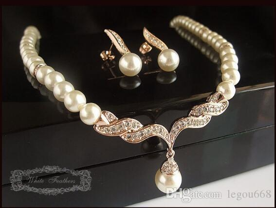 Rose Gold Bridal Jewelry Sets Cream Faux Pearl Rhinestone Crystal Diamante Wedding Necklace and Earrings