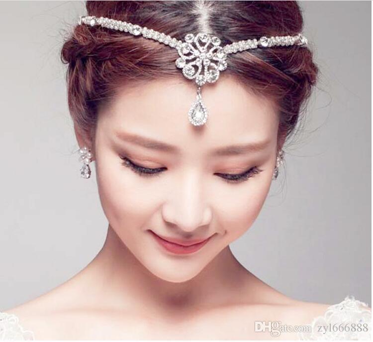 Лоб принцессы, бровь, кулон, высококачественный белый Хрустальный жемчужный обруч.