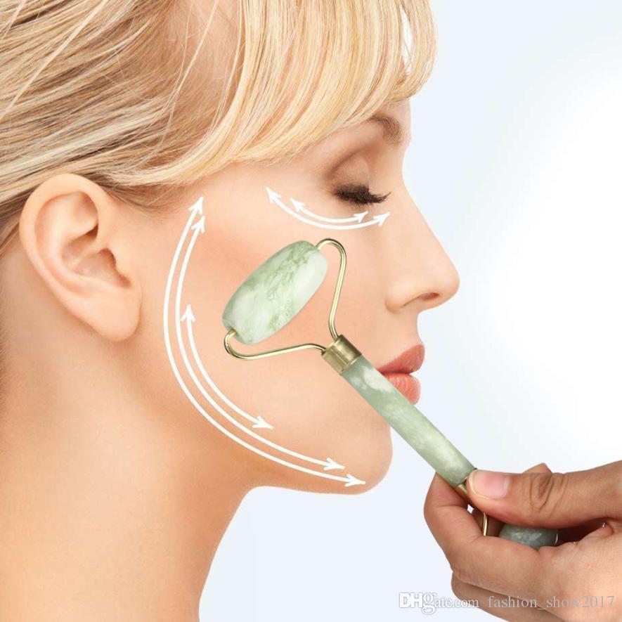 Portátil pràctica Jade masaje facial rodillo Herramientas Anti Arrugas Cara Cuerpo sano Cabeza Pie de belleza natural