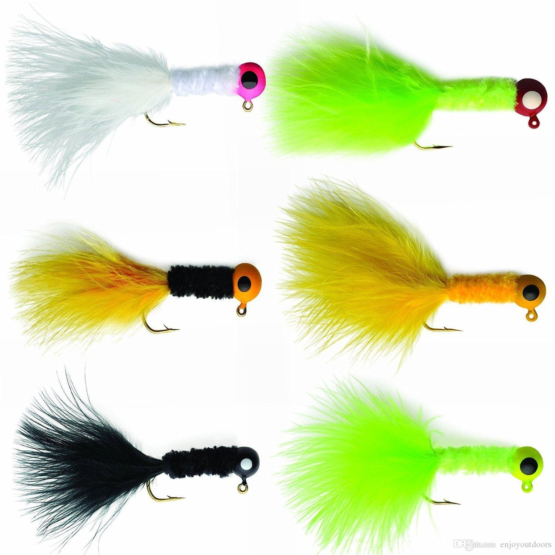 20pcs//box Crappie Jigs Lead Head Hook Fishing Jig With Feather Bass Pike Walleye