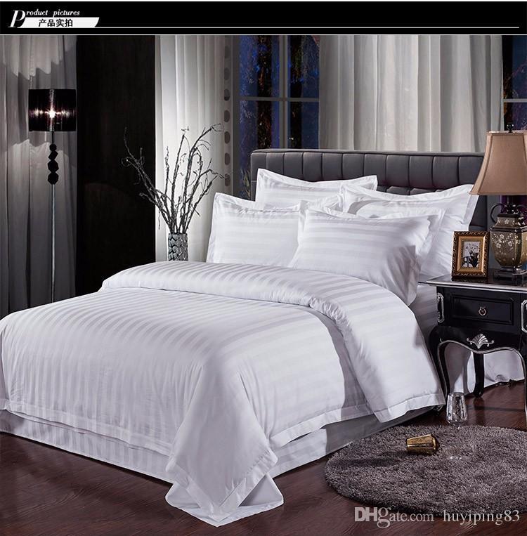 Branco Streak Hotel conjuntos de cama rainha rei 4pcs cama ajustado cor sólida capa de edredão de algodão lençol para quarto de hóspedes têxteis lar
