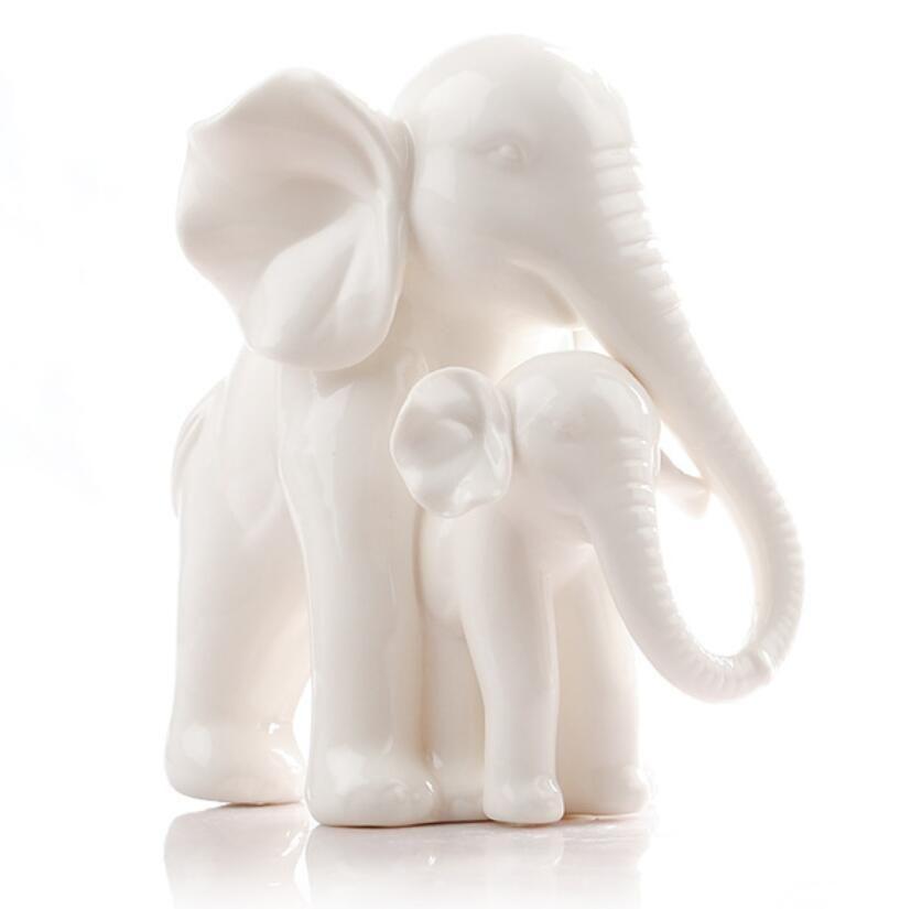 ceramica bianca elefante casa arredamento artigianato decorazione della stanza ceramica kawaii ornamento figurine di porcellana figurine animali decorazione
