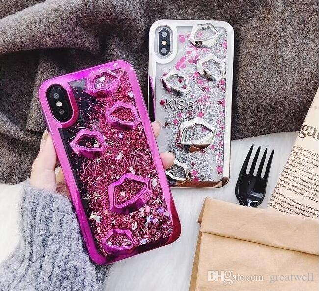 Electroplate Lips Dynamic Liquid Quicksand Phone Back Case For iPhone Xs Max XR 8 7 6S Plus Samsung S10 Plus Sexy Mouth Girls Cover