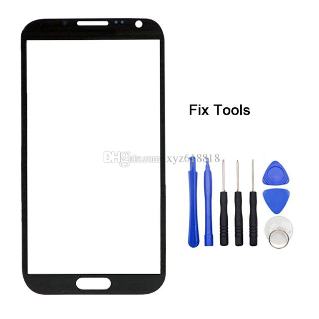 N7100 Front Outer Glass For Samsung Galaxy Note 2 N7100 Touch Screen Sensor Digitizer Panel Lens Cover Display Replacement Tools