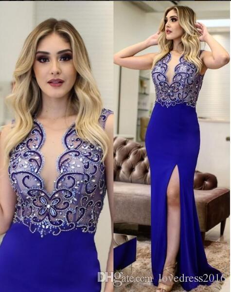 2019 Royal Blue Long Side Split Meerjungfrau Ballkleider mit Perlen Sexy Sheer Tiefer Ausschnitt Abendkleider