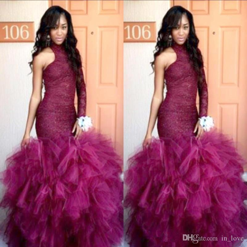 Grape Purple Prom Dresses One Shoulder Long Sleeve Lace Ruffles Tiered Tulle Mermaid Trumpet Evening Dress Formal Party Gown Custom Size