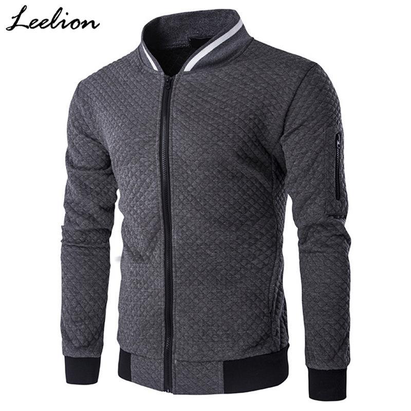 LeeLion 2018 솔리드 격자 무늬 자켓 남성 지퍼 카디건 코트 봄 가을 남성면 재킷 재킷 패션 캐주얼 재킷