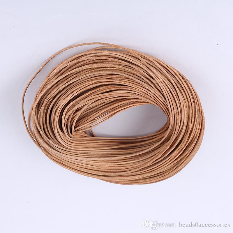100pcs / Lot En Gros LT COFFE VRAI Cuir Cordon Collier Corde Longue Chaîne DIY Résultats de Bijoux Composants