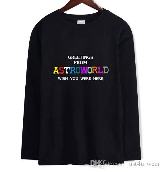 Travis Scotts ASTROWORLD Lettre Imprimer T-shirt À Manches Longues Hommes Femmes Ras Du Cou T-shirt Casual Mode Chandail À Capuche Amoureux Sweat Top